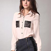 Pink Sequins Pocket Long Sleeve Shirt S010076
