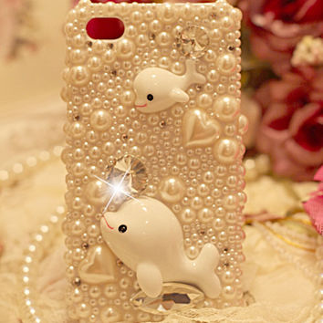 cute whales pearl rhinestone case for iphone 4/4s/5