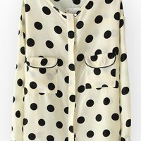 Beige Dot Loose Pocket Shirt #ECS010129