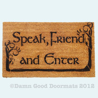 LOTR Hobbit TREES Tolkien - Speak, Friend, and Enter- doormat geek stuff