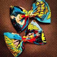 Superhero marvel dc comic Wonder Woman bat girl  fabric hair bow