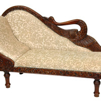 Oriental Furniture Queen Elizabeth Swan Cotton Chaise Lounge