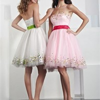 Short Strapless Sweetheart with Sash and Beadings Tulle Prom Dress  from dressesinuk