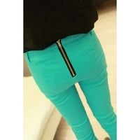 Green Bodycon Pants with Back Zipper