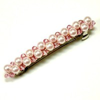 Tilleyjewels Bride Ribbons of Pearls and Crystals Bridal Barrette Pink