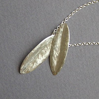 Silver Necklace  Olive Leaves Pendant by DaliaShamirJewelry