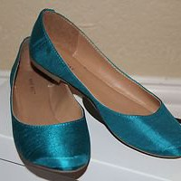 NINE WEST SILK Teal CityFlats (Size 8)