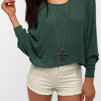 Urban Outfitters - Sparkle &amp; Fade Extreme Dolman Cropped Sweater
