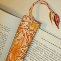 Handmade Bookmarks - 10 Fall Autumn Embossed Leaves Beads