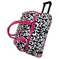 DAMASK WITH PINK TRIM ROLLING DUFFLE BAG & MATCHING MESSENGER TRAVEL SLING
