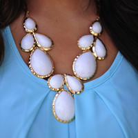Falling For Jewels Necklace: White/Gold | Hope&#x27;s