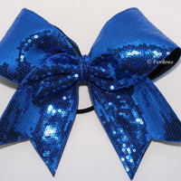 WOW Blue Sequin Fabulous GLITZ Cheerleading Bow