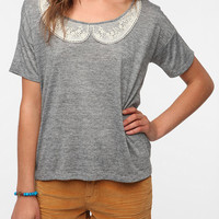 Pins and Needles Placed Crochet Collar Tee