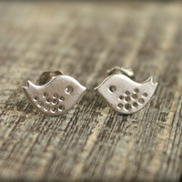 Small Spotted Bird Earring Studs Sterling by saffronandsaege
