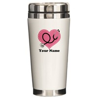 Personalized Nurse Heart Ceramic Travel Mug on CafePress.com