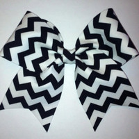 3 Black and White Chevron Cheer Bow by BowDistrict on Etsy