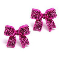 I&#x27;m A Cute Little Princess Ribbon Pave&#x27; Earrings (Hot Pink)