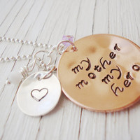 My Mother My Hero handstamped necklace gift of love and support