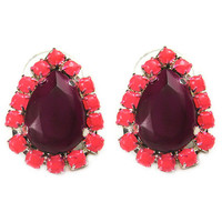 Deep Purple with Neon Pink Pave Crystal Teardrop Stud Earrings