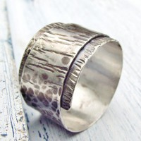 Rustic Textured Ring Wide Sterling Silver Overlapped Band size 6.5