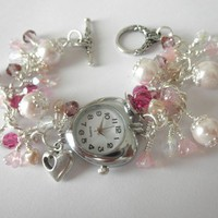 Pretty in Pink Heart Watch Bracelet