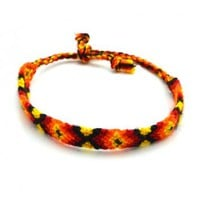 Handmade Aztec Pattern Friendship Bracelet in Orange