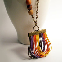 Colored Waxed Cords Necklace With Three Wooden Beads And Brass Chain