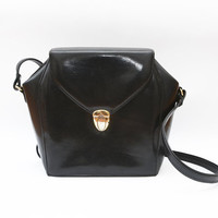 Vintage black leather structured bag / shoulder bag