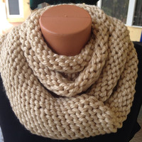 Chunky Infinity Scarf  or Cowl in Ivory Cream Color