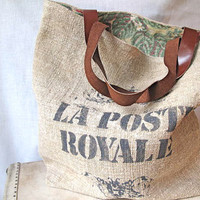 "Vintage French Linen Tote Bag screened with ""La Poste Royale"""