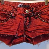 Amazon.com: Wallflower 5 Pocket Distressed Colored Denim Cut Off Shorts with Pyramid Stud Accents: Clothing