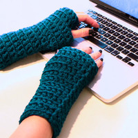 Fingerless gloves winter fashion in dark teal, Galene Gloves, under 25