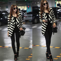 New Women Korea Black &amp; White Stripe Big Lapel Long Sleeve Coat Cardigan X189