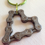 UPCYCLED Bicycle Chain HEART 2 Keychain - Enjoy the Ride