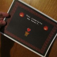 You complete my heart NES Legend of Zelda inspired Valentine's Day Anniversary or just because - Cute, Quirky, Geeky Gift Note Card