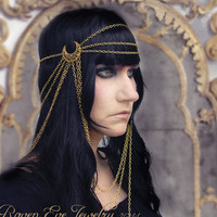 Guinevere Chain Headdress Headpiece Elegant by ravenevejewelry