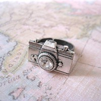 Antique Silver Camera Ring by lunashineshine on Etsy