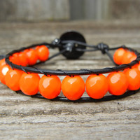 Beaded Leather Single Wrap Bracelet with Tangerine Orange Czech Glass Beads on Black Leather
