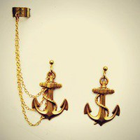 alapop — golden anchor ear cuff earrings