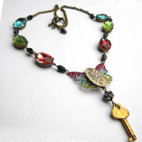 Necklace  ACROSS The UNIVERSE Rainbow Butterfly With by Msemrick