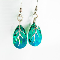 Blue Zircon Summer Earrings Swarovski Crystal Almond Shape Earrings