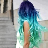 Purple and Green Hair Extensions/Purple Ombre DipDye with Sea Green