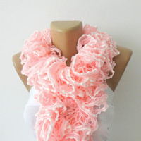 women Hand Knitted Ruffled Scarf ,pink scarf, UNDER 25, pink and white, accessories,  for her, fashion, long scarf