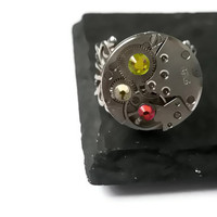 Steampunk Jewellery Ring Vintage Watch Ring clockwork Orange Yellow Red Swarovski crystal ready to ship