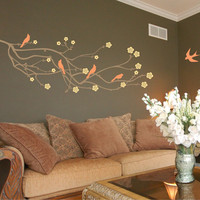 Cherry Blossom Branch Wall Decal with 5 Birds in 3 colors - Vinyl Wall Art Stickers
