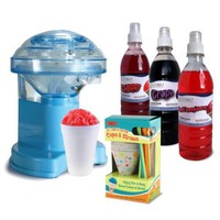 Amazon.com: Victorio Snow Cone Gift Pack with Hand Crank Ice Shaver, 25-Cup/Straws: Kitchen & Dining