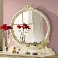 Wildon Home Oval Mirror in Antique White - 3326