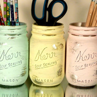 Home, Dorm or Office Decor, Pastel Painted Mason Jars with Silver Inside - Vase