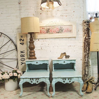 Painted Cottage Chic Shabby Pair of Aqua Romantic French Lamp Tables ENT05