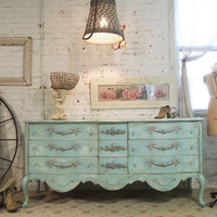 RESERVE LISTING  Painted Cottage Shabby Aqua Romantic Dresser